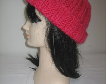 100% Red Merino Wool chunky Hat