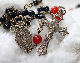 Catholic Our Lady Undoer of Knots Rosary in Solid Bronze with Blue Goldstone, Agate--Untier of Knots Semi-Precious Catholic Rosary--Handmade