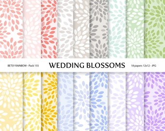 Floral digital papers, 18 digital papers with flower blossom patterns, scrapbook paper  - BR 155