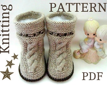 Knitting PATTERN Baby Uggs ( INSTRUCTION ) Pattern Baby Booties Knit Pattern Baby Boy Baby Girl Shoes Newborn Pattern Baby Shoes Baby Boots