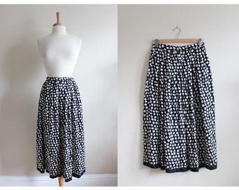 Vintage Black and White Dot Silk Midi Skirt