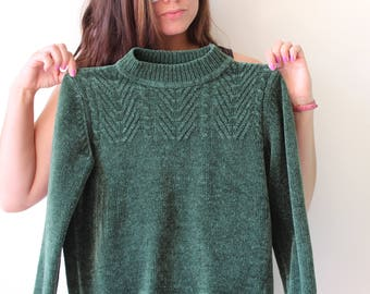 Vintage GREEN VELVET Sweater Pullover....xsmall. indie. ethnic. kitsch. 90s clothing. womens. ladies. urban. emerald. turtle neck