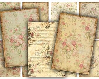 Vintage Floral Tags Digital Collage Sheet Download - 480 - Digital Paper - Instant Download Printables