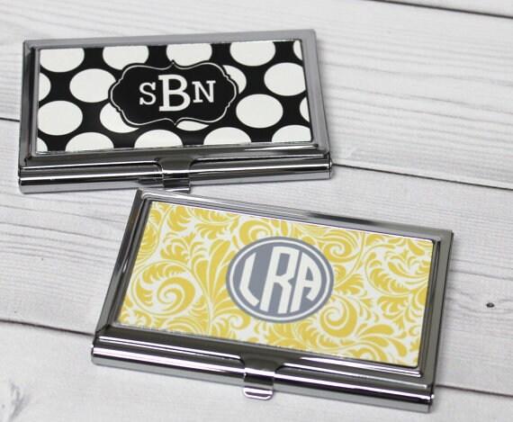 Business card case monogram business card holder business card case monogram business card holder personalized card holder personalized gift coworker gift custom card holder colourmoves