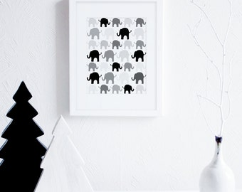 Black and White Nursery Decor, Elephants Nursery Art Print, Elephant Baby Room Decor, Scandinavian Nursery Art, Grey Printable Nursery Art