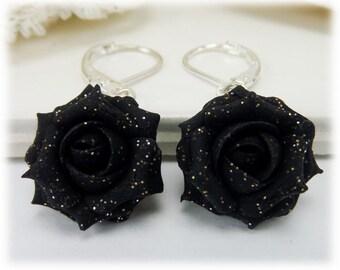 Black Glitter Rose Dangle Earrings - Black Glitter Flower Drop Earrings