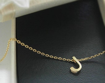 initial necklace, Tiny initial J necklace, personalized necklace, Satin brushed finish