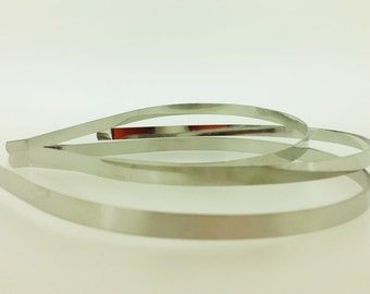 12 pieces - 7mm Metal Headbands in Silver