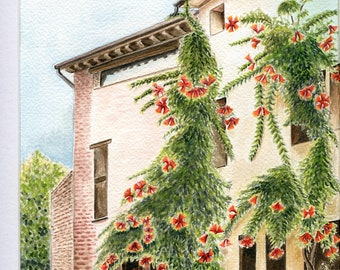 Limited number REPRODUCTION of my watercolor: House in the bignonia Castellaro Lagusello, Italy