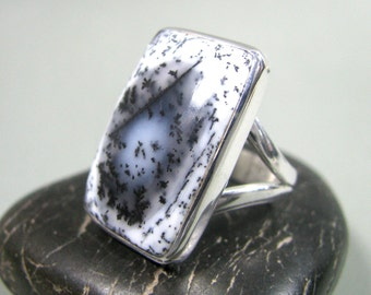 Dendritic Agate Ring - Black and White, Merlinite Ring, Dendrite Ring, Size 7.5 US, Womens Ring, Agate Ring in Sterling Silver, Agate Ring