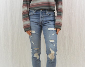 Upcycled Vans Cropped Hoodie, Lightweight, Size XS-Small, Skater, Striped, Tumblr Clothing, OOAK