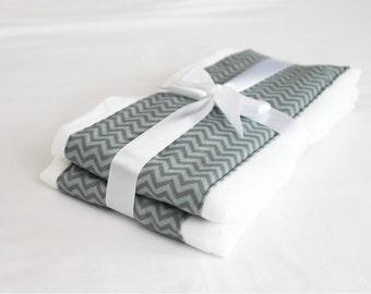 Grey Chevron Burp Cloths - Set of 2 - two-tone grey