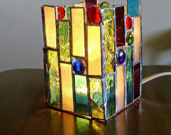Accent lamp - stained glass lamp - candle lamp - stained glass art - home decor- lamp - glass art decor - glass art lamp - stained glass art
