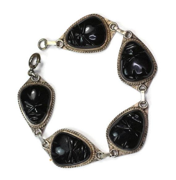 Black Glass Face Mask Bracelet Sterling Links Tribal Boho Vintage