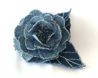 Denim Rose brooch, Corsage, headdress, hairpin.