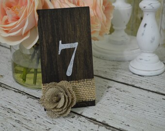 burlap wedding table numbers, rustic table numbers, country wedding decor