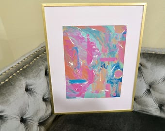 Original abstract canvas acrylic painting- colorful art