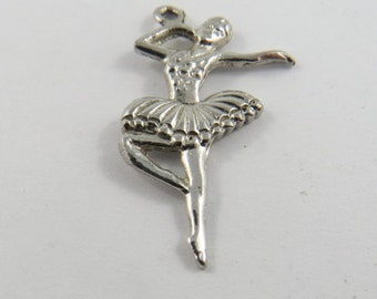 Dancing Ballerina Sterling Silver Charm or Pendant.