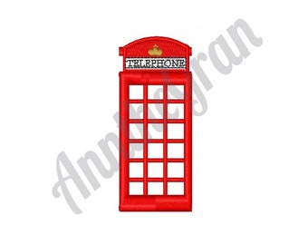 Telephone Booth Embroidery Design. Payphone Embroidery Design. Machine Embroidery Design. London Telephone Embroidery Design