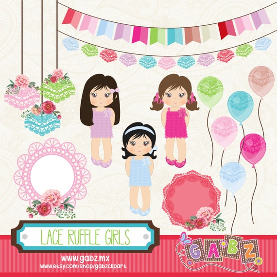 Lace Ruffle Girls Birthday Party Clip Art Party Girls Birthday