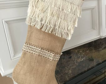 Fringe Stocking | Christmas Burlap Stocking | Christmas Stocking | Cream Burlap Stocking | Cotton Stocking | Burlap Stocking | Burlap Home
