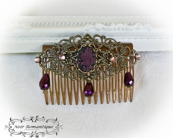 Bronze victorian cameo hair comb with purple details-victorian haircomb-victorian hairclip-victorian gothic jewely-victorian headpiece