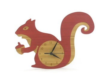 Wooden Squirrel Wall Clock