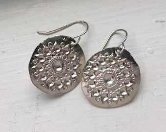 Handmade silver mandala India earrings on sterling wires