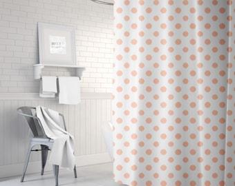Peach Shower Curtain, Ikat, Polka Dot Bath Curtain, Girls Bathroom Decor, Fabric Shower Curtain, Standard or Extra Long