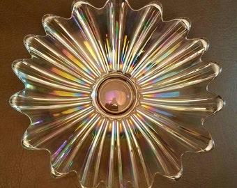 Vintage Iridescent Carnival Glass Starburst Clear Crystal Rainbow Glow Dish