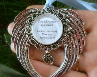 "SHOP SALE Memorial Baby / Miscarriage Ornament ""First Chritmas in Heaven"""