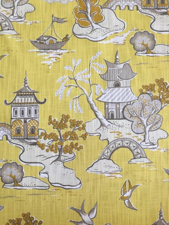 Asian Toile Chinoiserie Pagoda Fabric Wang Chung Lemon