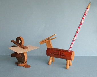 Clothespin Note Holders Vintage 1950s 60s Duck Horse Wooden Desk Organziers