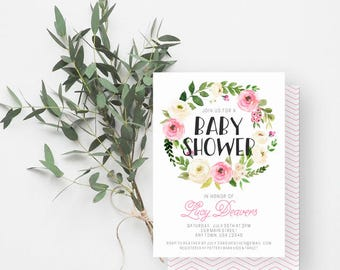 Girl Baby Shower Invitation, Greenery, Boho Baby Shower, Pink Baby Shower Invite, Peonies, Watercolor Floral, Pink, Cream, 814