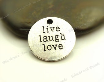 4 Live Laugh Love Message Charms Antique Silver Tone Metal 18mm - Etched Message Pendants - BF20