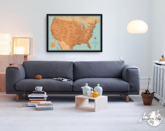 United States map / USA travels / Amazing gift for traveler / Personalized push pin map / Impressive gift for him