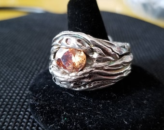 Flowing river, silver band with sparkling cz set in, artisan crafted ring