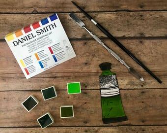 Daniel Smith Fine Art WATERCOLOR hand-poured half pans-GREENS