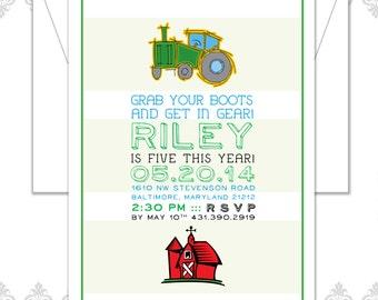 Tractor Farm Birthday Invite - Farm Party - Farm invitation - Tractor Birthday Party - Modern Tractor Birthday Invitation - Tractor Party
