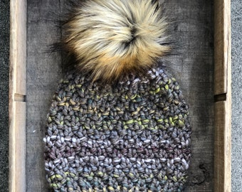 Linden Hat Adult Beanie Bulky Wool Blend Yarn Simba Faux Fur Pom