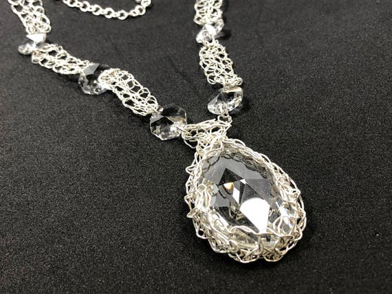 SJC10207 - Handmade sterling silver wire crochet necklace with sterling silver round wire crochet pieces and chandelier crystal prisms