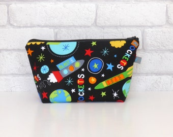 Rockets & Space Themed Kid's Wash Bag / Toiletry Bag with waterproof lining