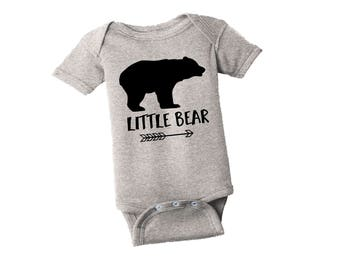 Little Bear Shirt - Gray Bodysuit - Little Brother One Piece - Little Sister Gray Creeper
