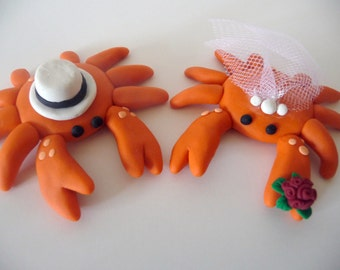 Crab Wedding Cake Topper - Choose your colors