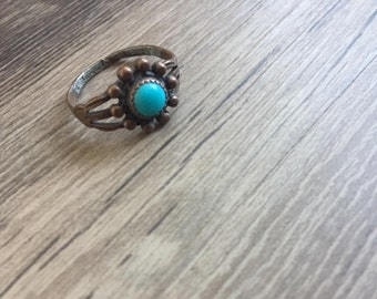 1974 Vintage Copper and Turquoise Ring. US Size 6.75