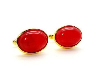 Red River Jade Cufflinks – Red Jade Cufflinks – Red Oval Cufflinks