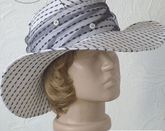 Women's hat, Summer hat with a brim, Striped hat, Traveling sun hat, White hat, White and black hat