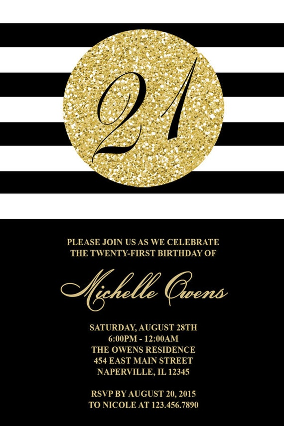 Gold 21st Birthday Party Invitation Black and White Stripes