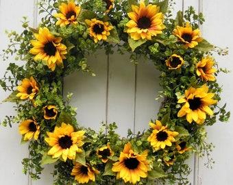 Spring Wreath, Spring Door Wreath, Front Door Wreath, Fall Wreath, Autumn Wreath, Sunflower Wreath, Yellow Sunflower Wreath,Summer Wreath
