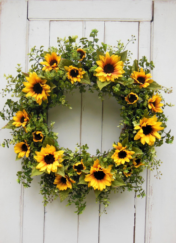 Fall Wreath, Spring Door Wreath, Front Door Wreath,Fall Door Wreath, Autumn  Wreath, Sunflower Wreath, Yellow Sunflower Wreath, Spring Wreath